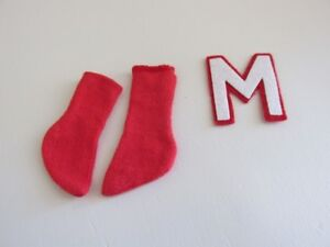 Vintage Ken Doll Pair of Red Socks and Letter