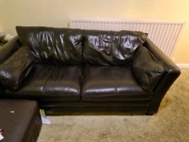 John Lewis 3 seater Leather Sofa