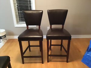 2 modern brown faux leather bar stools - Great deal!