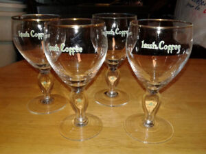 Set of 4 Irish Coffee Glasses with Shamrocks and Gold Rims