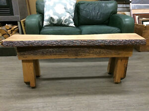 ONE OF A KIND CHERRY BENCH WITH BARN BEAM BASE - GORGEOUS!!!