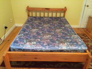 Wooden Bed Frame with Mattress St. John's Newfoundland image 1