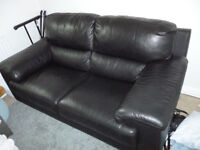 Quality black leather 2 seater sofa *PRICE REDUCED*