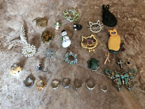 Various Brooches and Rings