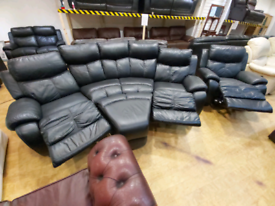 FREE DELIVERY black leather 4+1+footstool recliner suite
