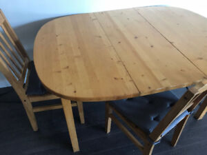 large dining table with four chairs+two bar stools