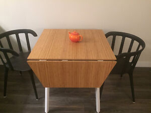 IKEA PS 2012 bamboo drop leaf dining table and dining chairs