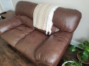 Great leather love seat and chair