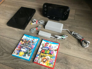 Wii U console with Smash Bros and Super Mario 3D World