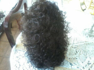 brand new in the box tags atatched size average long curly wig