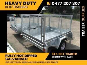 New: 8x5 Galvanised Box Trailer 600 with Cage for Sale