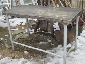 1960s BUTCHER BLOCK TOP INDUSTRIAL PIPE BOTTOM WORK TABLE $100
