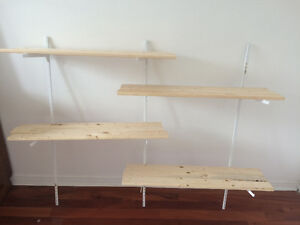 Wooden wall shelf unit/ tablettes murales