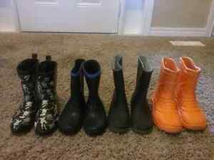 Rubber boots size 13, 13, 1 and 2