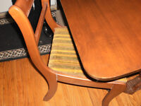 DUNCAN PHIEFE TABLE & 4 CHAIRS, $200.