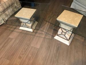 Glass Coffee table plus end table
