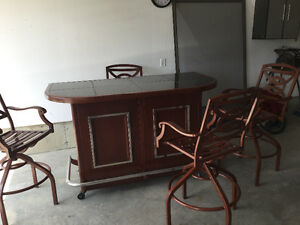OUTSIDE BAR AND  STOOLS