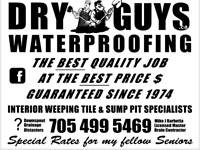 Wet Leaky Crumbling Foundation ? Call Dryguys 705 499 5469 .
