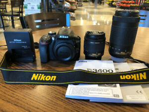 NIKON D3400 body plus 18-55mm and 70-300mm lenses