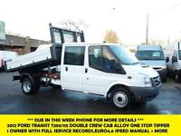 2012 FORD TRANSIT T350/115 DOUBLE/CREW CAB ALLOY ONE STOP TIPPER *** 1 OWNER FRO
