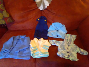 Baby boys hand knitted clothes