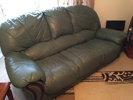 Leather 3 piece suite with stool