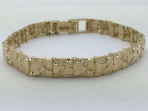 Man or Ladies 14K Gold Nugget Bracelet