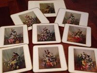 VTG RETRO KITSCH 50S VERNON WARD TABLE/PLACE MATS SET OF 9