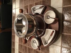 Kit service a fondue chinoise sur plateau tournant