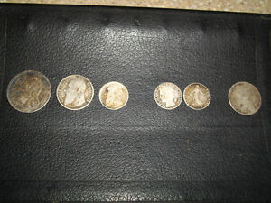 LOT OF SIX 6 VINTAGE EUROPEAN  CIRCULATED COINS SILVER COINS