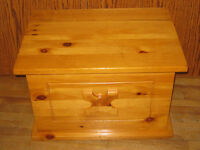 Solid Honey Pine Toy Box and table/bench
