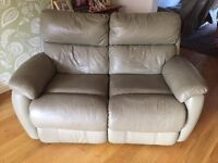 2 and 3 seater olive green leather sofas FREE