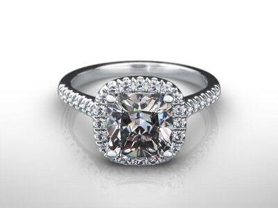 3 CARAT CUSHION CUT D/VS2 DIAMOND HALO ENGAGEMENT RING 14K WHITE GOLD