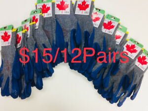$15/12Pairs Blue Rubber Palm Pu Coated Work Gloves