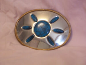 Turquoise Sunburst Belt Buckle
