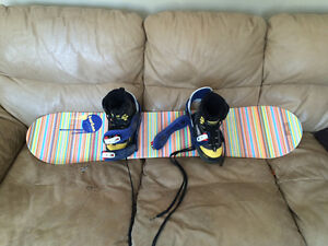 Junior snowboard and boots
