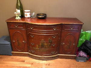 Antique Mahagony Sideboard in the Chinoserie Style