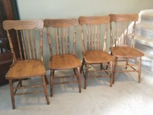 4 Antique Press Back Chairs