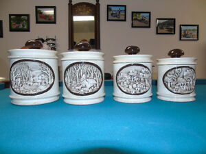 4 Pces Handmade Pottery Canister Set