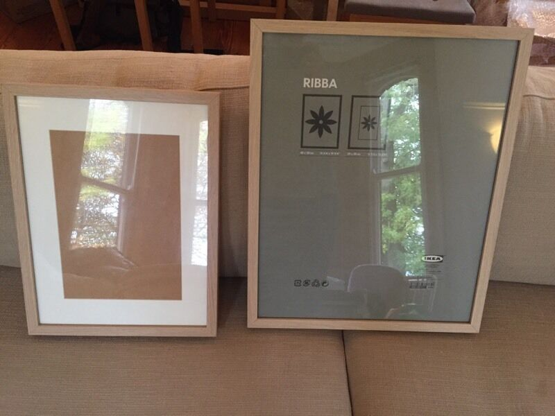 2 x ikea picture photo frames light wood 40 x 50cm and 30 x 40cm