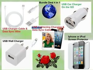 PACKAGE DEAL USB DATA SYNC WIRE, WALL & CAR CHARGER iPHONE iPOD