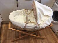 Muma's & Papa's Moses basket, bedding set, curtains, lamp shade & pictures.