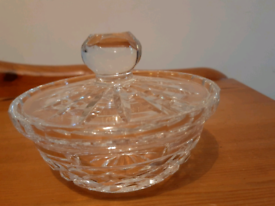 Beautiful Vintage Waterford Crystal Cut Glass Sugar Bowl Condiment Dis