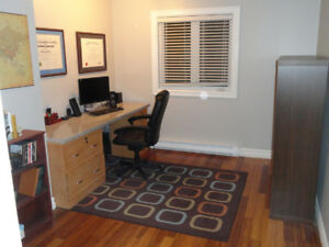 Granite top desk with filing cabinets