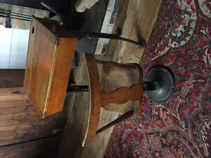 Antique Wood Iron School Desk and Chair