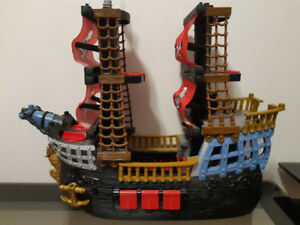 Large Fisher-Price Imaginext Pirate Ship with Red Sails