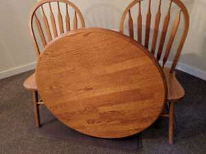 Solid Oak Table and Two Solid Oak Chairs