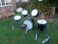 Riks Student Pro Drumkit 7 piece, including full set of silencers and spare Double Bass Pedal.