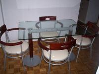 Ensemble salle à manger en métal et verre
