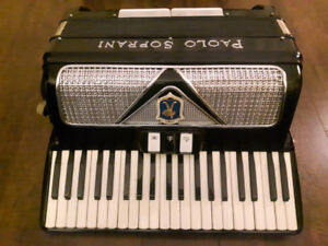 PAOLO SOPRANI Accordion, Black with Silver, Mint, Italy Made